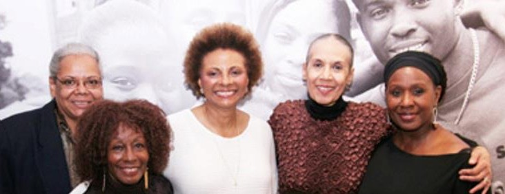 """The River Crosses Rivers"" Venida Evans, Vinie Burrow, Leslie Uggams, Carmen Delavallade and Elain Graham celebrate at THE RIVER CROSSES RIVERS opening night party on (2009) the Castillo Theatre in New York. a festival of seven short one-act plays by women of color, originally produced in the Going To The River run at the Ensemble Studio Theatre"