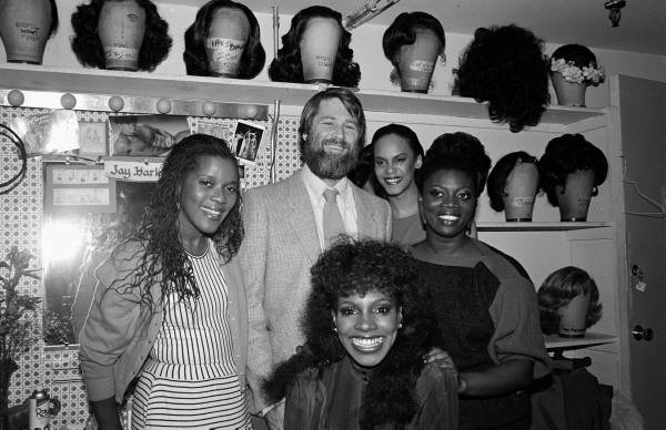 Brian Wilson backstage at DREAMGIRLS backstage- 1982. — with Loretta Devine, Sheryl Lee Ralph, Terry Burrell and Julia Nixon
