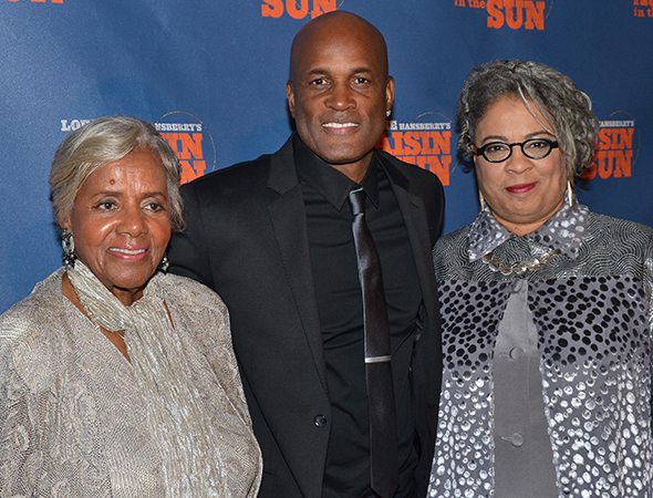 Raisin director Kenny Leon shares a photo with playwright Lorraine Hansberry's sister, Mamie (left), and Joi Gresham, the director of the Lorraine Hansberry Literary Trust.