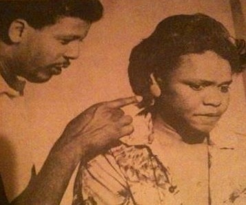 Eugene Lee and Adella Gautier in Dashiki Project Theatre's production of Dennis McIntyre's SPLIT SECOND. New Orleans,LA (Oct. 1984)
