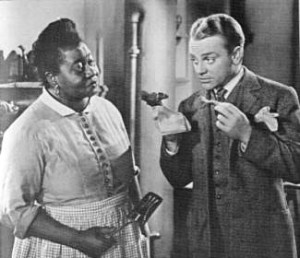Hattie plays Aida, the cook and housekeeper for a small-town widow and newspaper publisher trying to rid the town of corruption in JOHNNY COME LATELY (1943), a turn-of-the-century story starring James Cagney (tasting Aida's pork chops at right) alongside stage star Grace George (as the publisher) and small-town character actress Marjorie Main.
