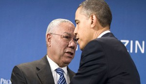 Powell announcing his endorsement of Barack Obama for President of the United States.
