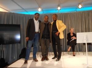 Jesse L. Martin, Samuel Legitimus and Andre de Shields taken at the live Arts Studio celbebration of James Baldwin.